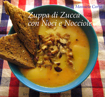zuppa di zucca con noci e nocciole