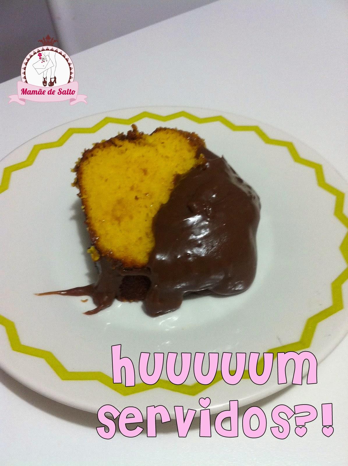 receita de bolo de cenoura com cobertura de brigadeiro blog Mamãe de Salto