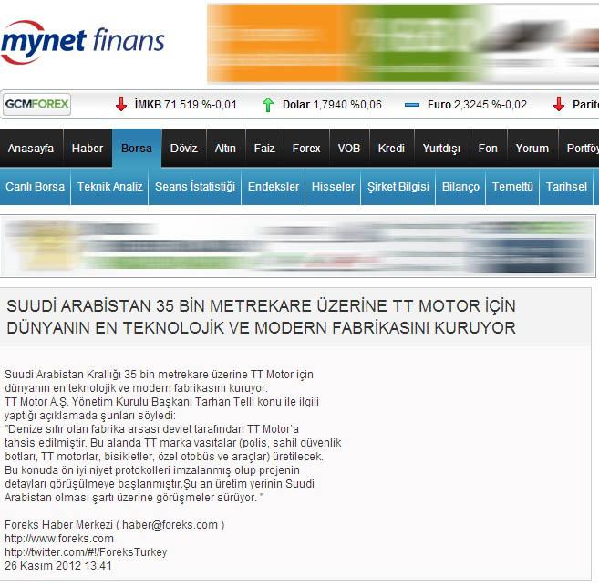 mynet+finans Suudi Arabistanda TT motor fabrikası kuruluyor.