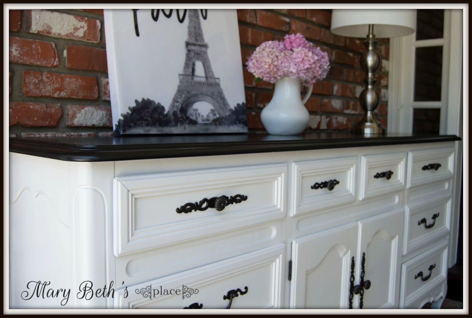 mary beth's place a classic black  white dresser - i used general finishes snow white for the body and drawers and lamp blackfor the top
