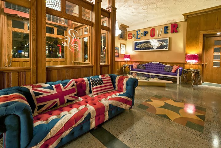 Retro Suites, lobby, Union Jack couch, flag, purple couch, Chatham Ontario, tourist attraction