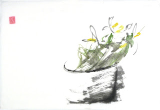See for the first time blog post illustration sumi-e painting of flowers.