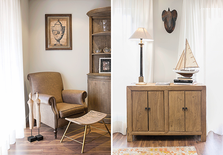 Detalles mobiliario salón estilo rústico