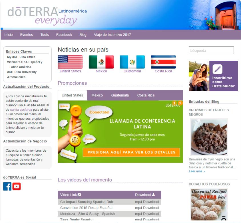 Web dōTerra Everyday Oficial Español
