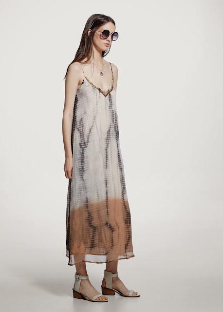 tie dye midi dress, tie dye strappy dress, mango tie dye dress,