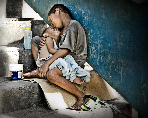 asia poor child starving pray