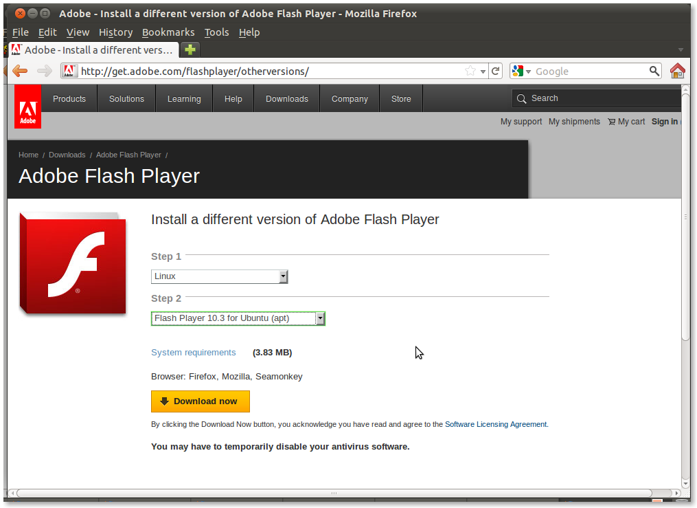 Flash 10 3 firefox Install adobe flash