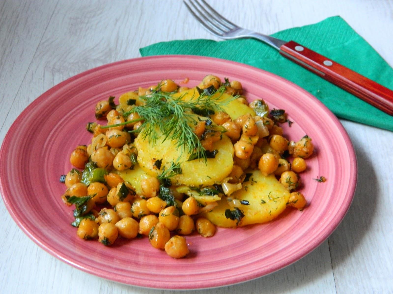 Cartofi cu usturoi verde si naut