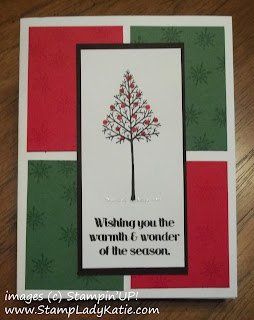 Card made with the Christmas Tree from Stampin'UP!'s Stamp set: Warmth and Wonder