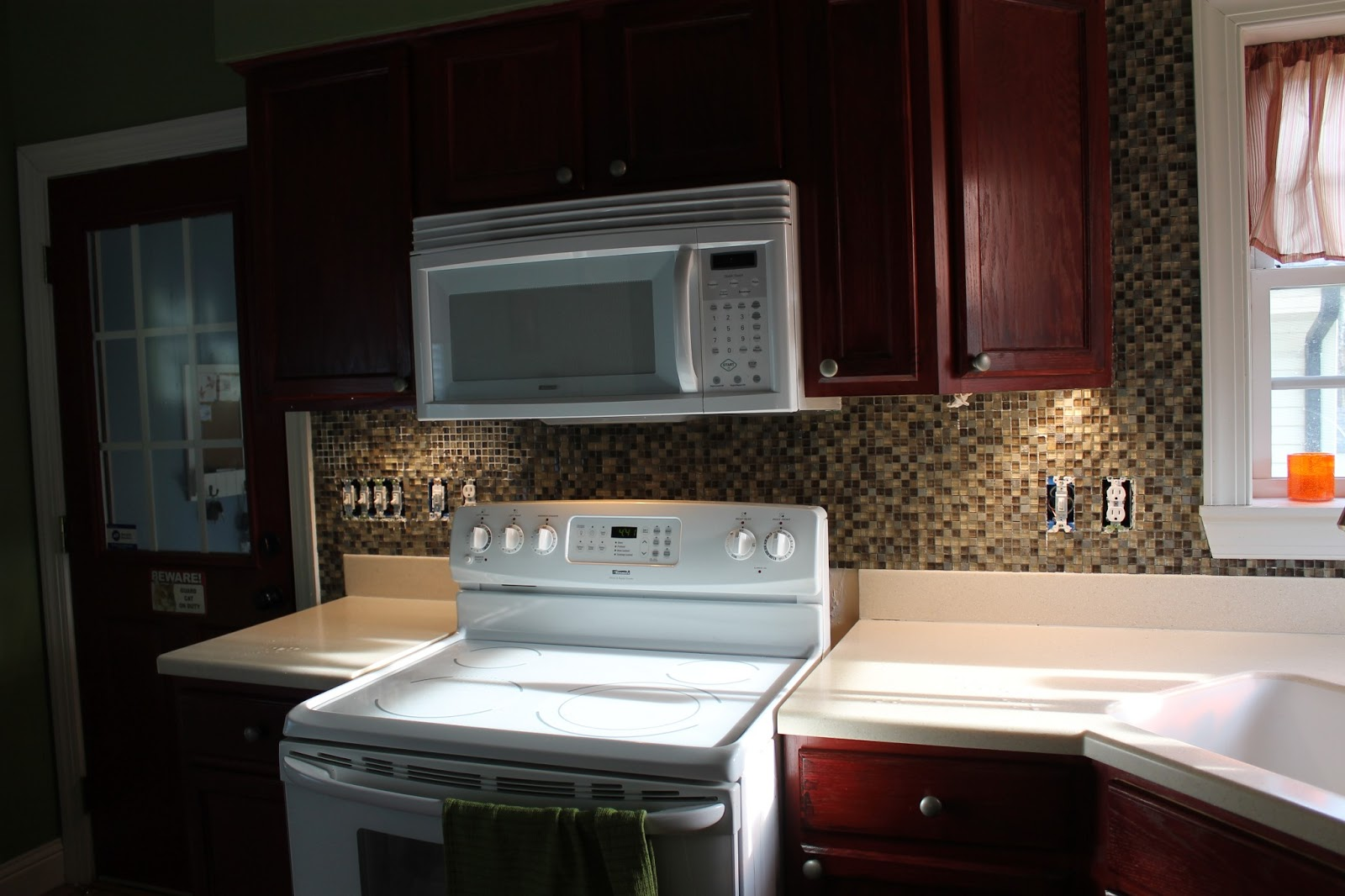 Adhesive Glass Tile Backsplash