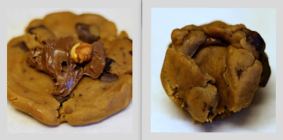 Raw Nutella and hazelnut-stuffed browned butter chocolate chunk cookie