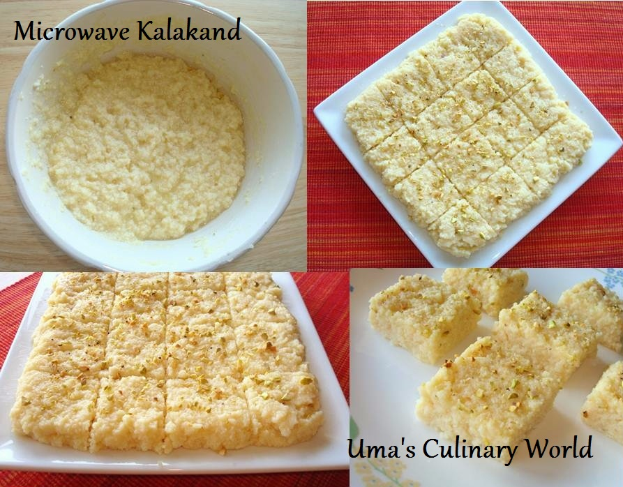 Umas culinary world microwave ricotta cheese kalakand indian kalakand microwave forumfinder Gallery
