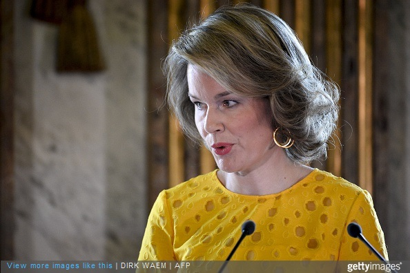 Queen Mathilde of Belgium speaks during the award ceremony for the Queen Mathilde Prize 2015 at the Royal Palace in Brussels on May 7, 2015.