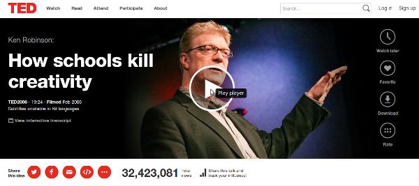 How schools kill creativity, a talk by Sir Ken Robinson
