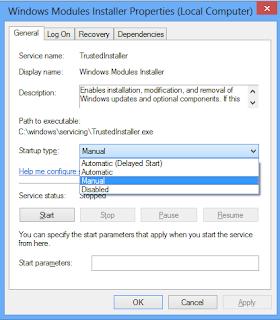 Windows Modules Installer Start up type