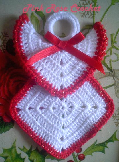 Free Crochet Granny Square Angel : Pink Rose Crochet: Granny Squares Christmas Angel