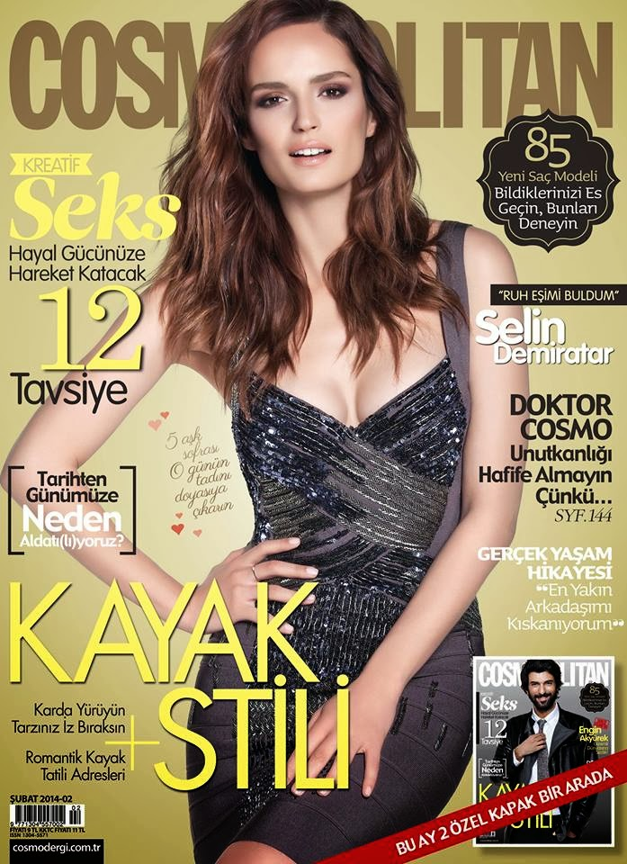 Magazine Cover : Selin Demiratar Magazine Photoshoot Pics on Cosmopolitan Magazine Turkey February 2014 Issue