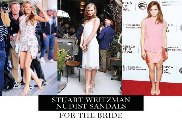 the stuart weitzman nudist sandal heels are perfect wedding day shoes