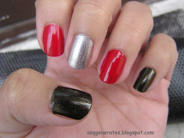 Red,Black and Silver painted nails