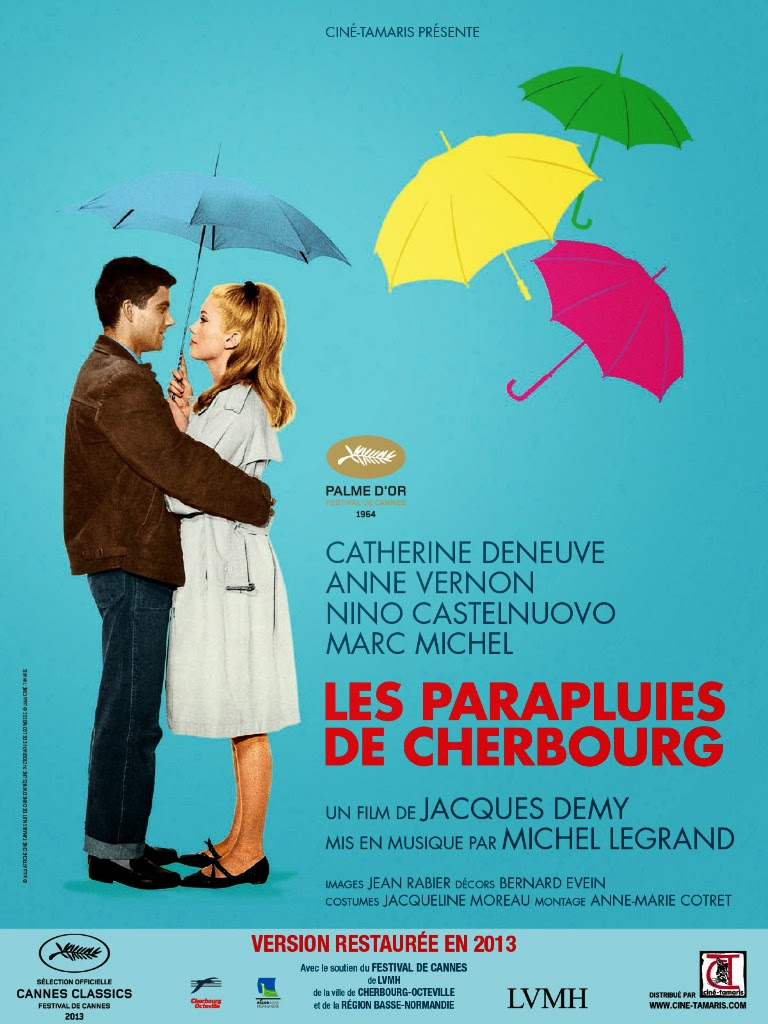 Embrace between main actors of Les Parapluies de Cherbourg