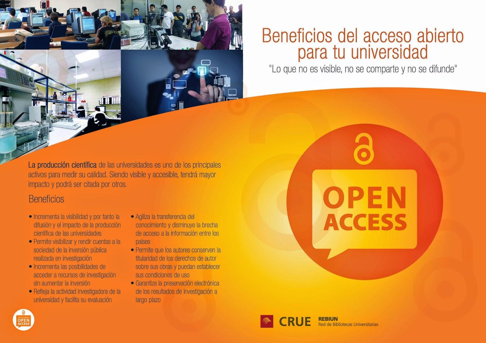 Resultado de imagen de beneficios del acceso abierto rebiun