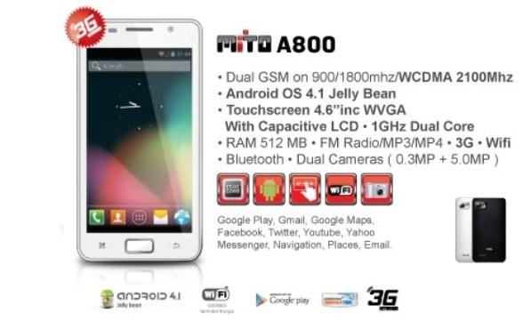Mito A800, Handphone Dual SIM Jelly Bean Dual Core Kamera 5MP