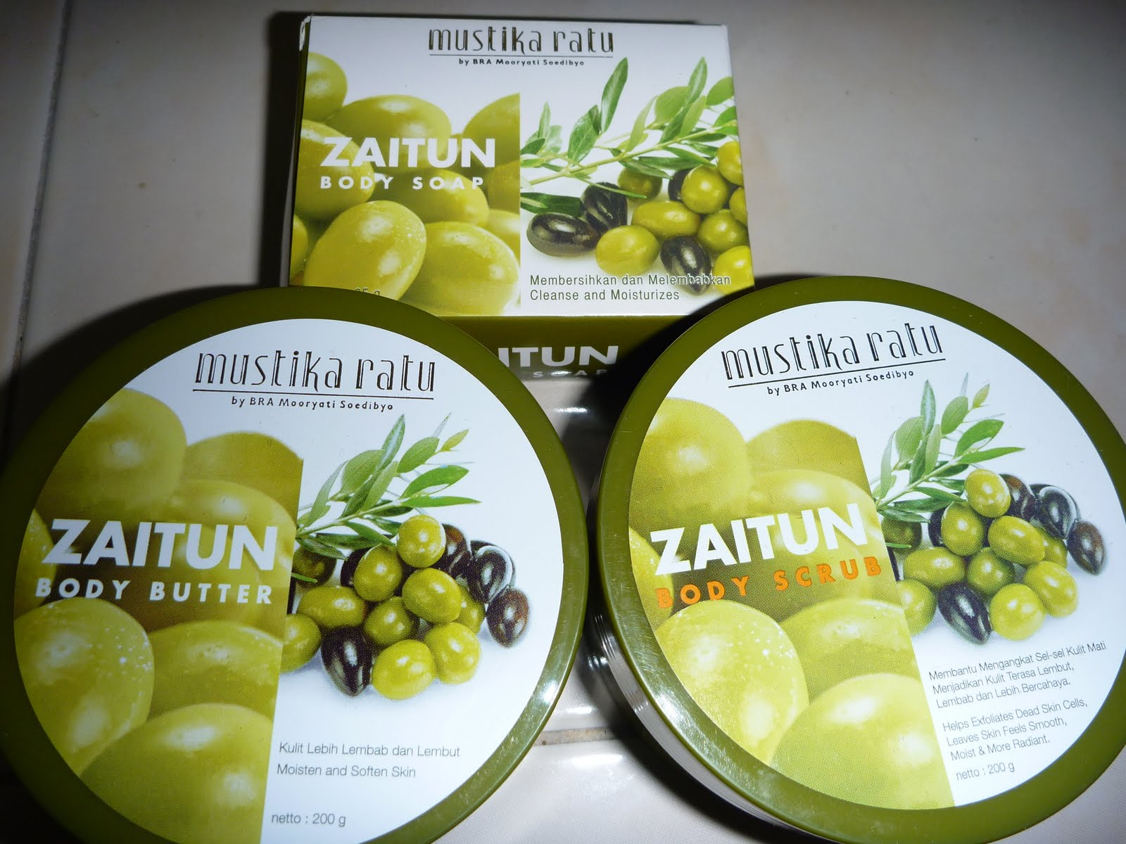 Jari2ygmenari Set Spa Mustika Ratu Body Scrub 200gr Zaitun 200g