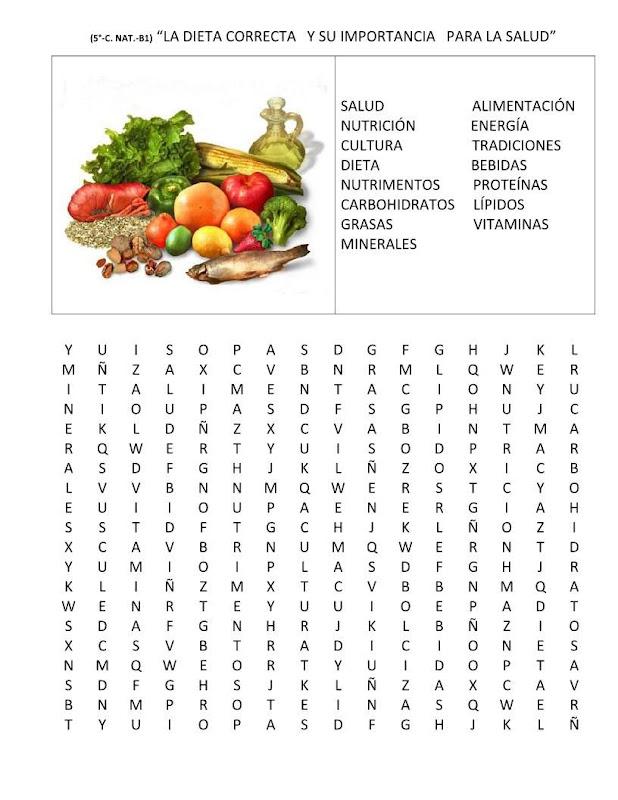 Sopa de letras de la alimentación