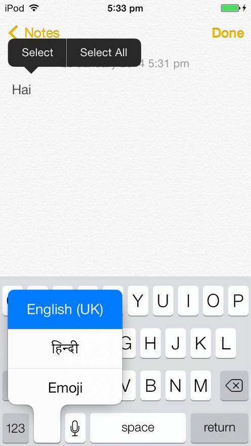 Hold the world icon to choose the keyboard