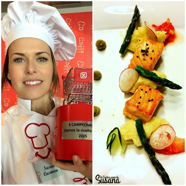 Salmón a la plancha con Coco Loco y falso wasabi