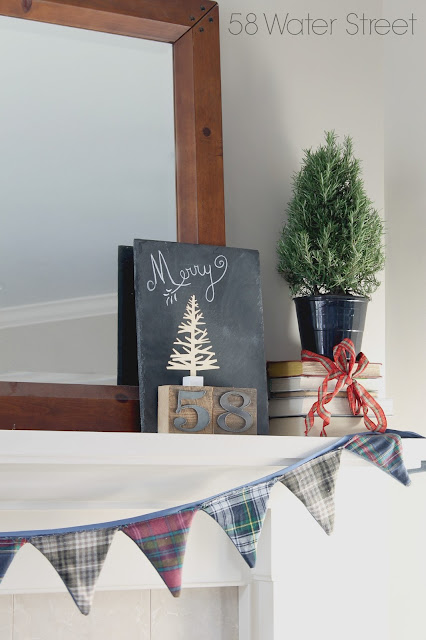 plaid, holiday, christmas, rosemary, topiary, antique, rustic, bunting, cozy, antlers, typography