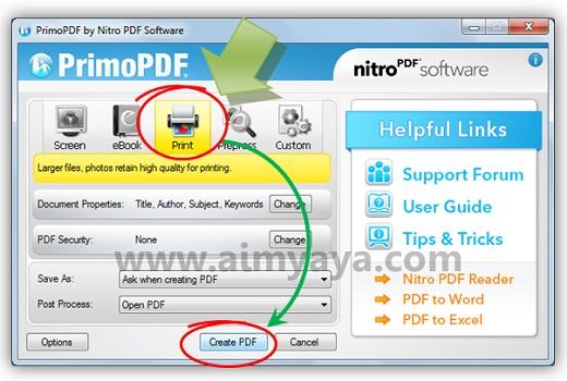 Gambar: Mengatur setting file PDF di PrimoPDF