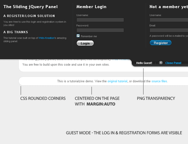 The registration / login system