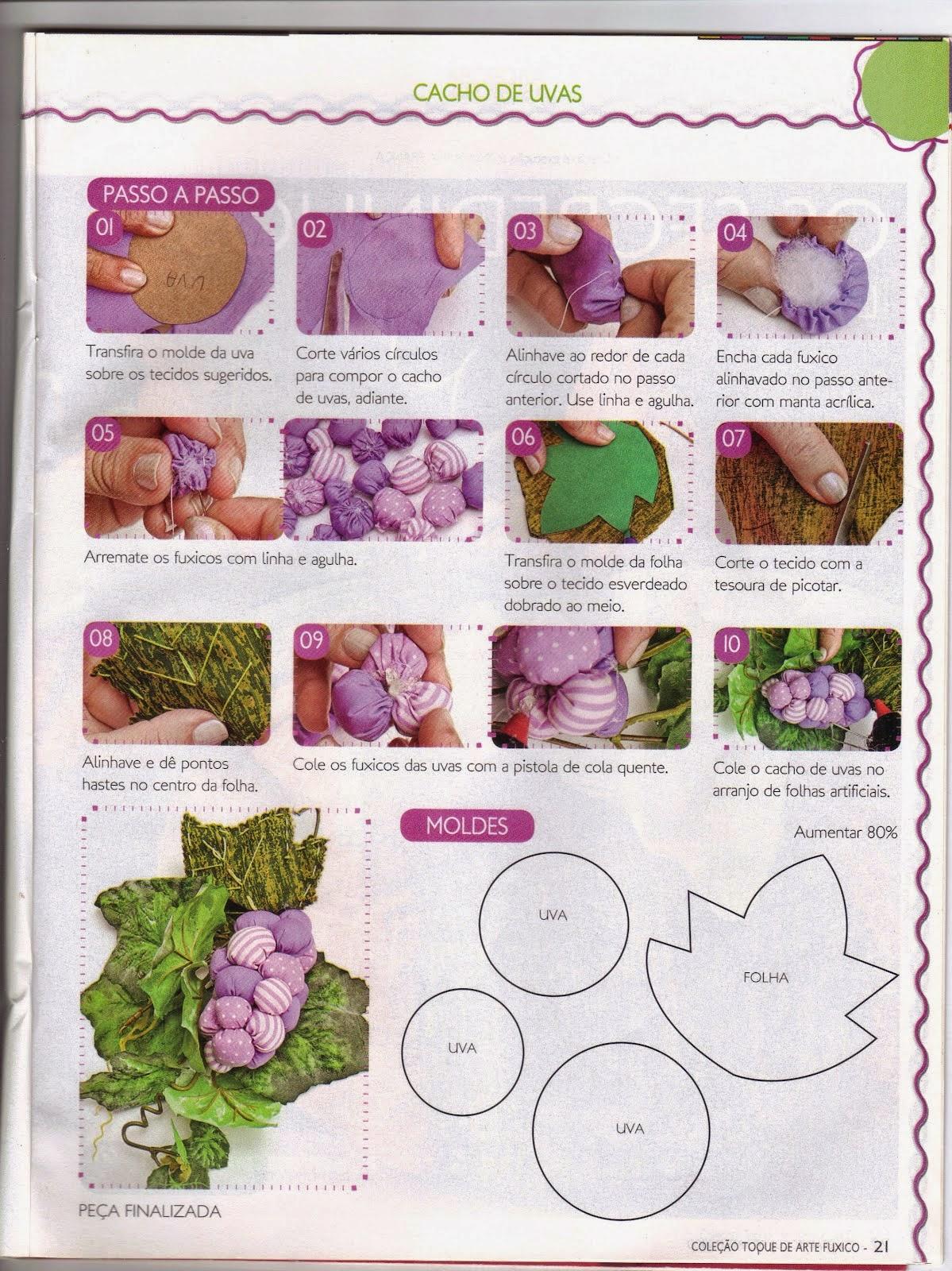 Moldes para fazer um cacho de uvas de tecido