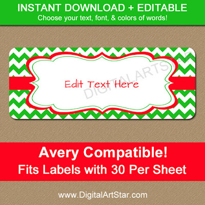 Editable Christmas Address Labels with Green Chevron