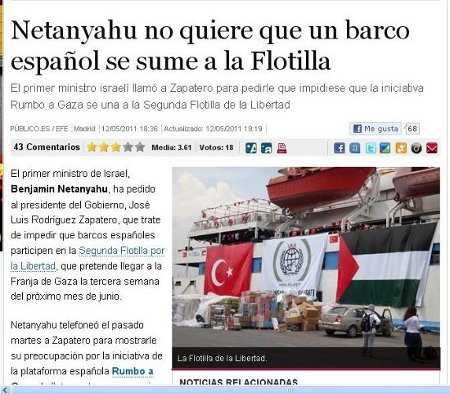 Netanyahu no quiere que un barco espaol se sume a la Flotilla.