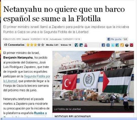 Netanyahu no quiere que un barco español se sume a la Flotilla.