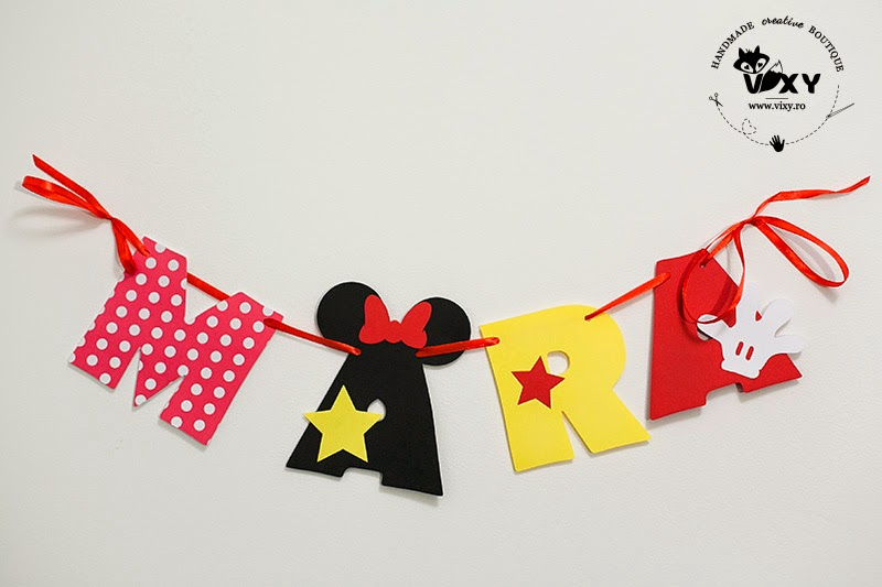 Minnie Mouse, ghirlanda personalizata, ghirlanda nume bebelus, ghirlanda personalizata handmade, petrecere tema Minnie, Minnie Mouse botez