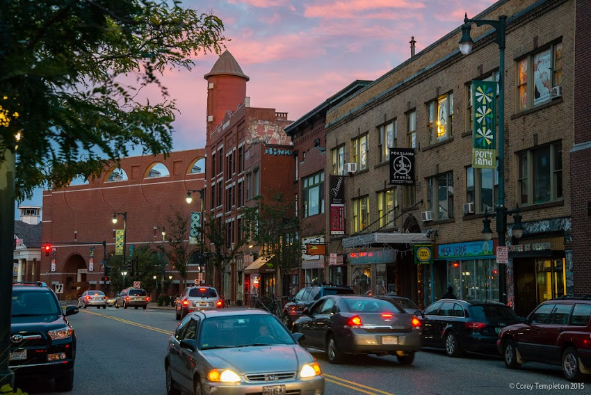 Portland, Maine October 2015 sunset over Congress Street towards Congress Square. Photo by Corey Templeton.