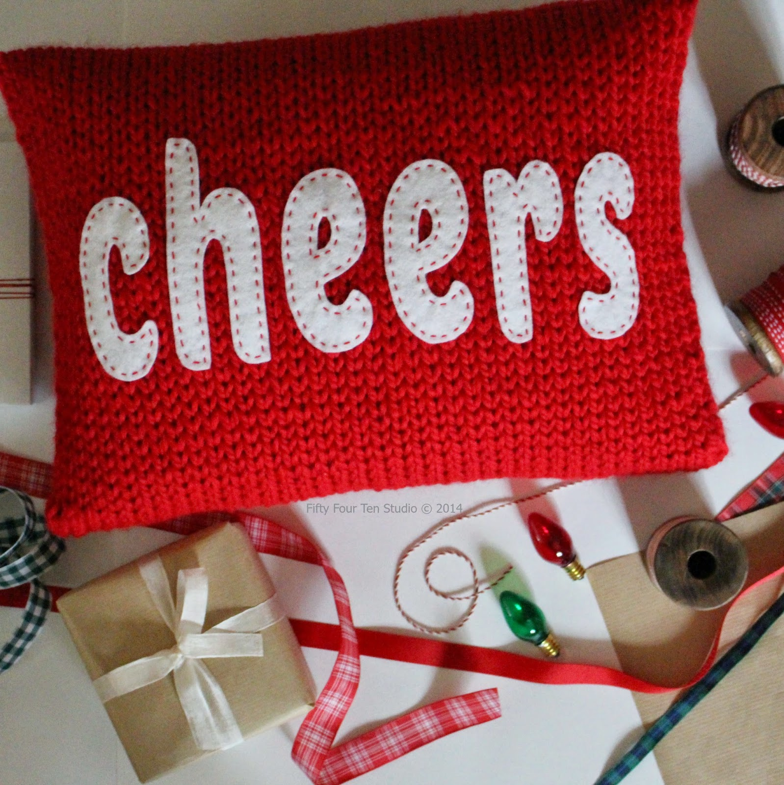 Fifty Four Ten Studio: Merry & Cheers Christmas Pillows Knitting Pattern