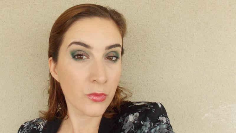 maquillage, vert, sleek