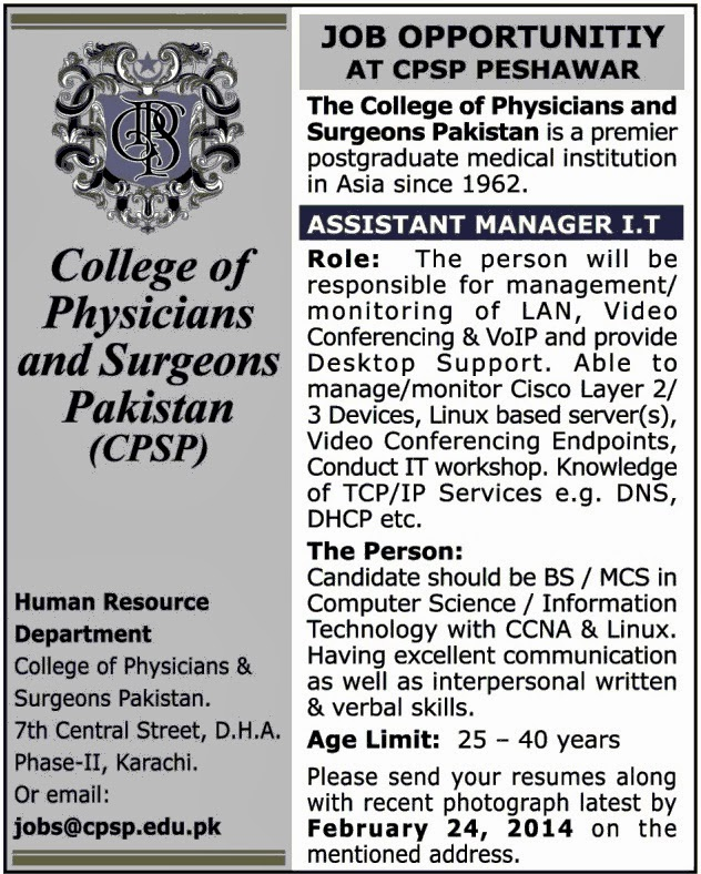 Assistant Manager Jobs in College of Physicians and Surgeons Pakistan, Karachi