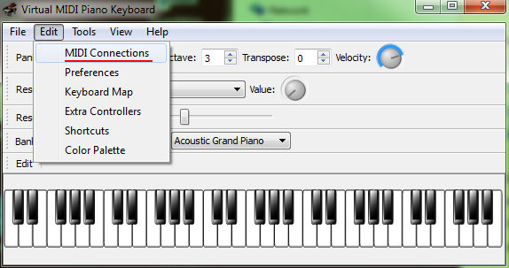 edit virtual keyboard MIDI connections