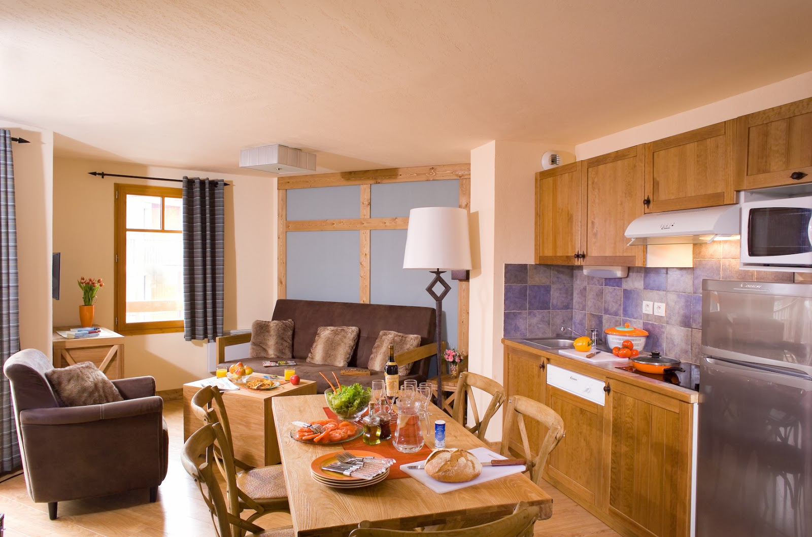 Interior of self-catered ski apartment, Cami Real