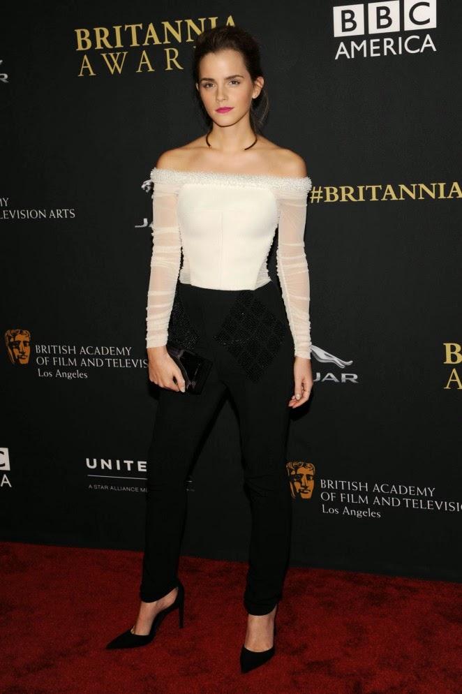 Emma Watson wears Balenciaga to the 2014 BAFTA Los Angeles Jaguar Britannia Awards