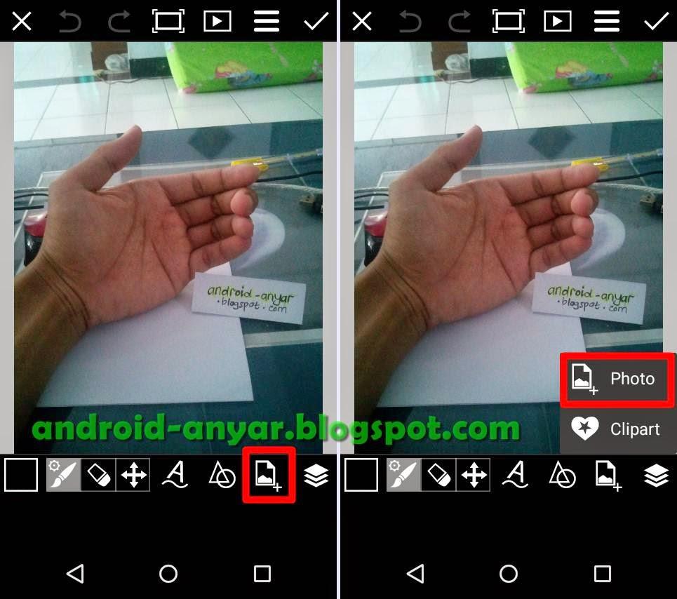 Tambah objek foto di PicsArt