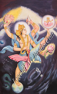Trivikrama: Vishnu-Vamana taking three steps to stride across three worlds.