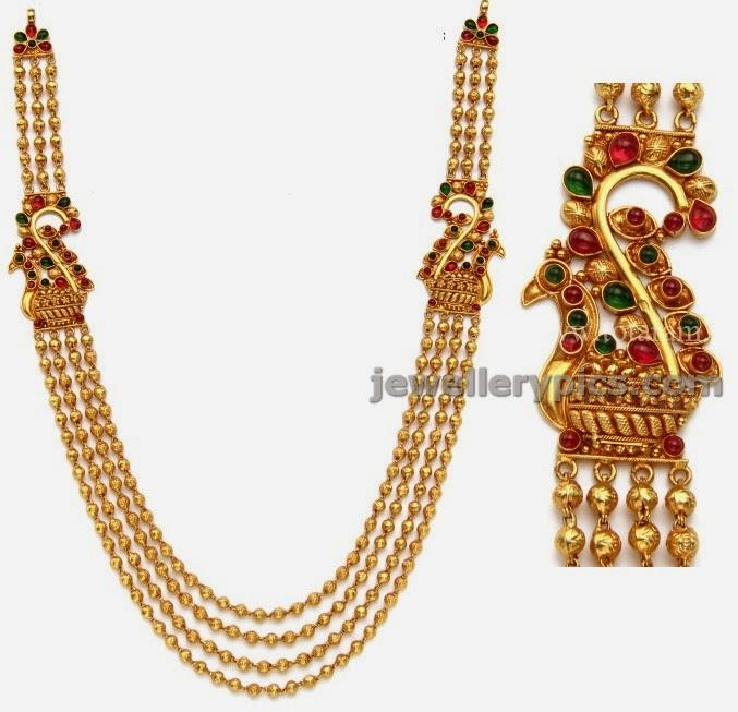 totaram gold gundla haram with peacock motif