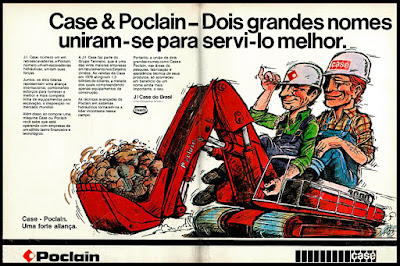 propaganda escavadeira Case & Poclain - 1978;  brazilian advertising cars in the 70s; os anos 70; história da década de 70; Brazil in the 70s; propaganda carros anos 70; Oswaldo Hernandez;