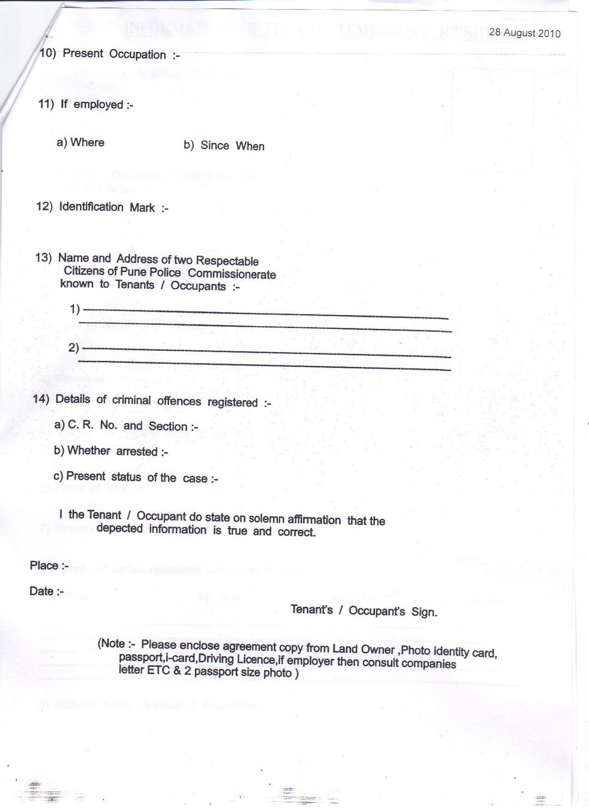 Doc Tenant Verification Form Tenant Verification Form 70